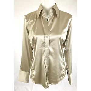NEW YORK CO Stretch Long Sleeve Button Down Blouse
